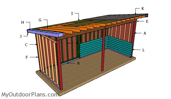 8x20 Run in Shed Roof Plans
