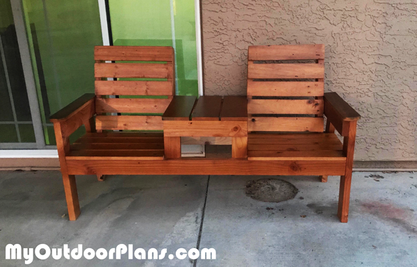 DIY Garden Double Chair Bench with Table