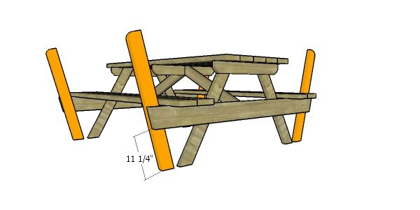 Fitting the backrest supports - picnic table