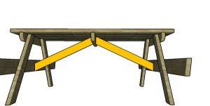 Fitting the diagonal braces - picnic table