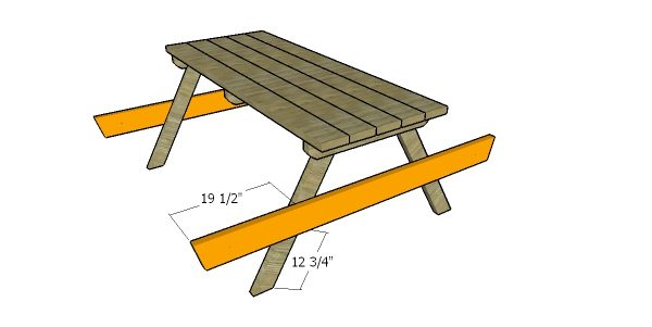 Fitting the seat supports - picnic table plans
