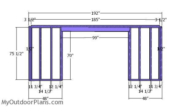 Front wall frame - 5x16 Shed