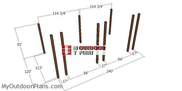 Laying-out-the-posts-for-a-10x20-loafing-shed