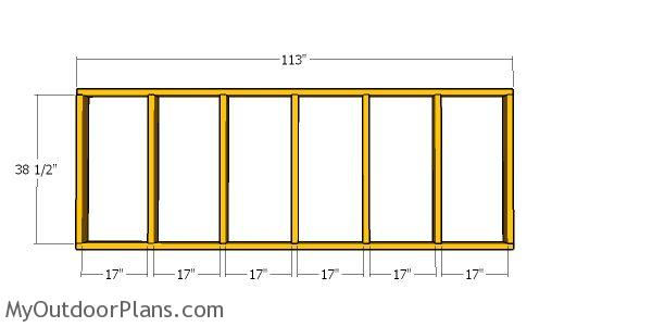 Partition wall frame - 10x20 run in shed