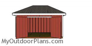 10x16 hip roof shed plans - Front view