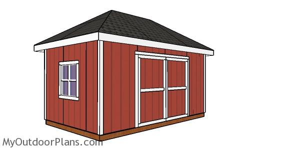 10x16 Shed with Hip Roof Plan