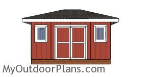 12x16 Shed with Hip Roof Plans - front wall