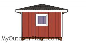12x16 Shed with Hip Roof Plans - side view