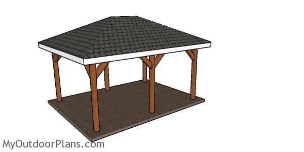 12x16 pavilion with hip roof plans
