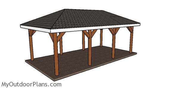 1 Car Carport with Hip Roof Plans