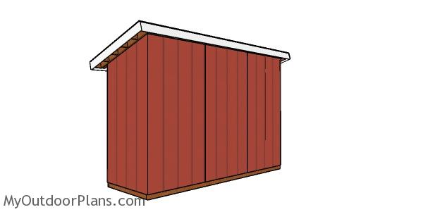 4x12 Lean to Shed Plans - back view