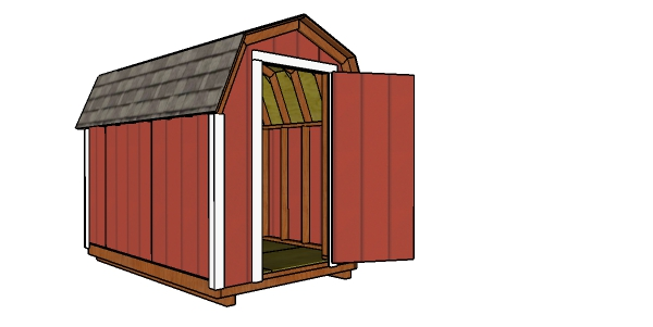6x10 Gambrel Shed Plans - Front view