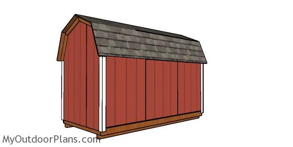6x12 Gambrel Shed Plans - back view