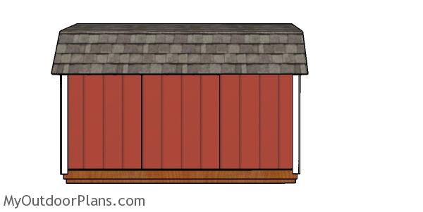 6x12 Gambrel Shed Plans - side view