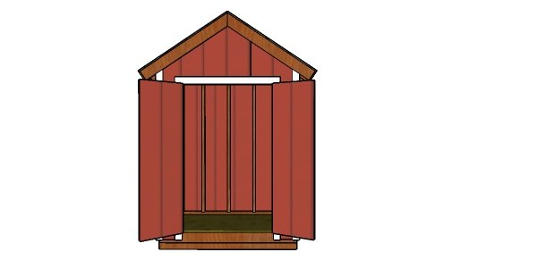6x4 Gable Shed Plans - Front View