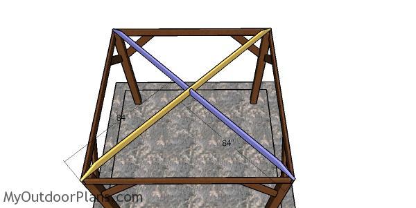 Assembling the bottom rafters - 10x10 hip gazebo
