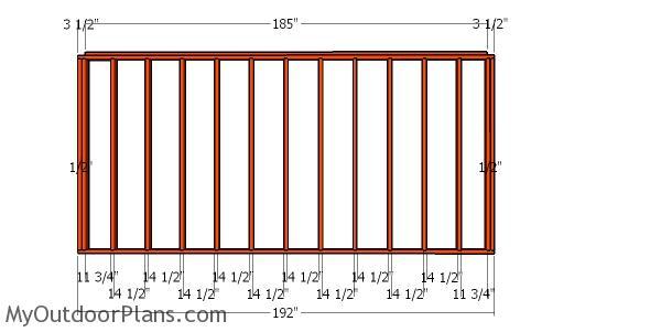 Back wall frame - 10x16 Storage Shed