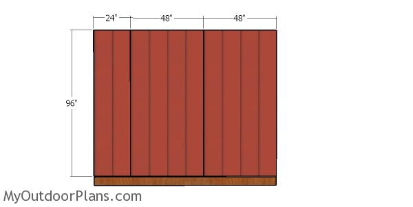 Back wall siding sheets - 10x10 hip shed