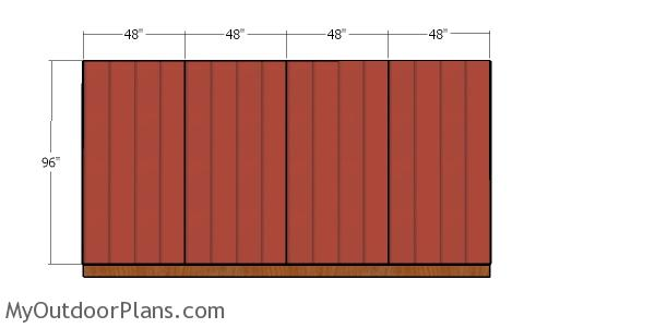 Back wall siding sheets - 10x16 hip roof shed