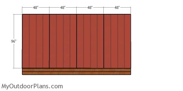 Back wall siding sheets - 12x16 shed
