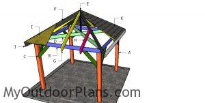 Building a 10x10 square gazebo with a hip rof