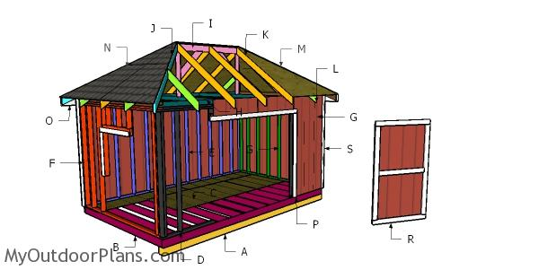 10x16 Shed with Hip Roof Plans