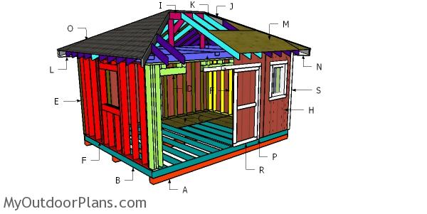 12x16 Hip Roof Shed Construction