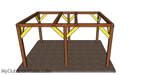 Fitting the braces - 12x16 pavilion plans