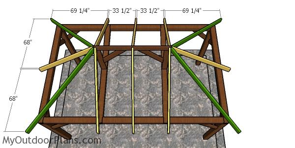 Fitting the common rafters - 10x16 hip roof gazebo