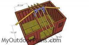 Fitting the common rafters - 12x16 hip roof