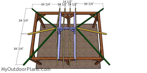 Fitting the common rafters - pavilion with hip roof