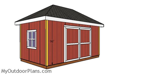 Fitting the corner trim - 10x16 hip roof shed