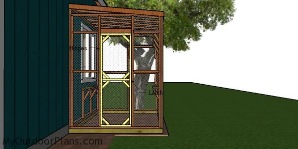Fitting the door to the catio