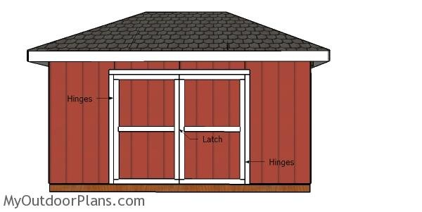 Fitting the double doors - 10x16 hip roof shed
