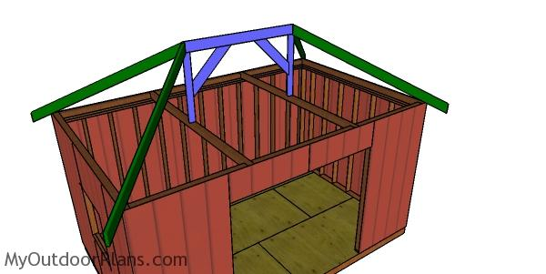 Fitting the hip rafters - 10x16 hip shed roof