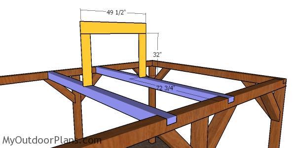 Fitting the ridge beam - hip roof pavilion