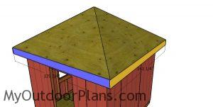 Fitting the roof trims - 10x10 hip roof shed