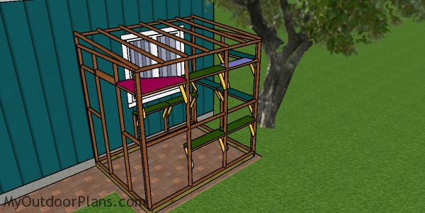 Fitting the shelves - catio