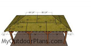 Front and back roof sheets - carport with hip roof