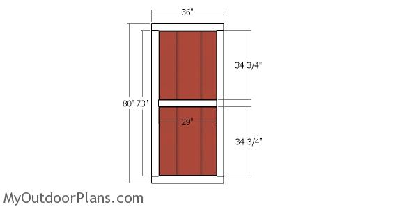 Front door - 10x10 shed with hip roof
