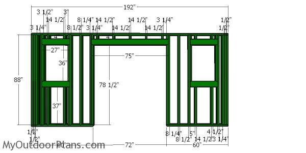 Front wall frame - 12x16 Shed with Hip roof