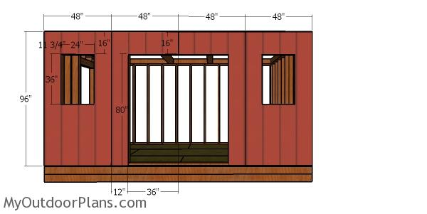 Front wall sheets - 12x16 shed