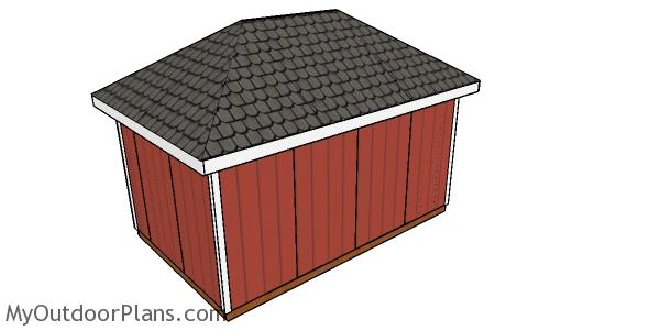 How to build a 10x16 shed with a hip roof - Back view