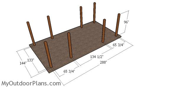 Laying out the posts for the carport