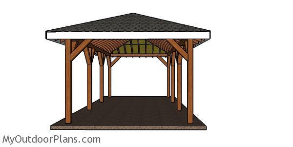 One car carport with a hip roof - Free DIY Plans