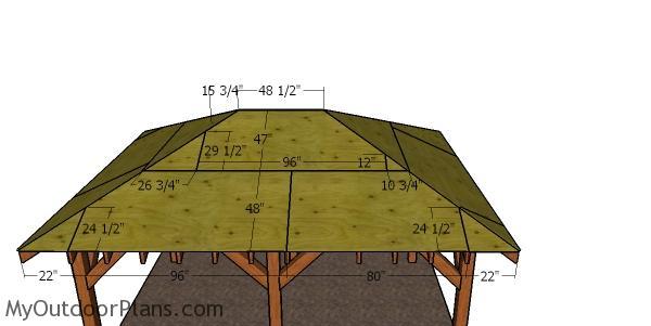 Roof sheets - side hip roof pavilion