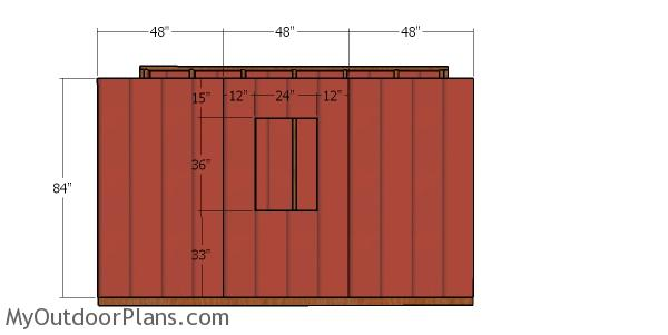 Side wall with siding - 4x12 shed