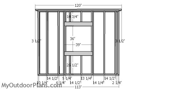 Side wall with window frame - 10x16 shed