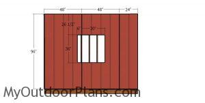 Side wall with window siding sheets - 10x10 hip roof shed
