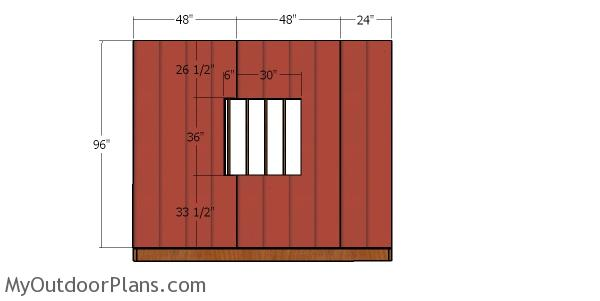 Side wall with window siding sheets - 10x16 shed